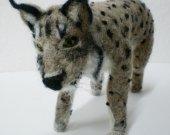 Iberian Lynx Figurine, OOAK, Wild Cat, Endangered Jungle Animal, Needle Felted