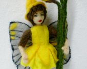 Spring Flower Fairy, Daffodil Fairy, Easter Fairy needle felted