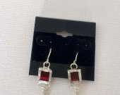 Red stained glass earrings, Tiffany technique