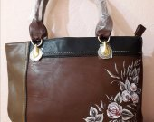 "Women""s Bag of Artificial Leather with Painted Flowers"