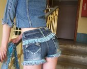 """Denim shorts """"Purl"""" - slightly flared cut blended with delicate fringe made of silk thread decorative cord"""