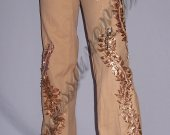 """Jeans for women """"Petals - Flare jeans classic fit at the waist, unusual sand-peach color"""