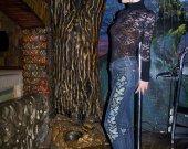 """Female skinny jeans """"The leaves of hops"""" - classic denim Indigo 60% density"""