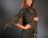 """Costume women """"Jeans with gipure"""" (skirt, top and jacket)"""