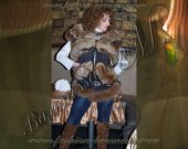 """Female vest with fur Siberian Fox """"Andrea"""" - from Italian suiting fabric with printed pattern"""