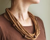 brown knitting yarn necklace with wooden beads