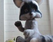 OOAK Felted raccoon 12.6in