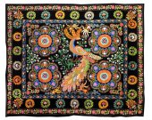 Uzbek silk embroidery large suzani amazing blossom & birds from Namangan A10940