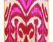 Uzbek handcrafted woven silk-cotton ikat adras fabric A10093