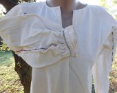 Antique Folk Costume Hand-Woven & Hand Sewed Robe Cotton Dress