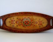 Antique Wooden Serving Tray - Hand Painted Tray - Glass Top Serving Tray - Rustic Kitchen Decor