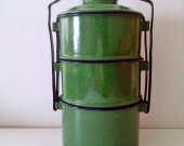 Vintage Green Enamel Tiffin Lunch Box - Meal Carrier with 3 Compartments - Farm House decor