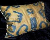 Uzbek natural silk cotton ikat adras pillow cushion cover & filling A5440