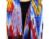 Uzbek handmade pure silk ikat shohi shawl scarf for your wardrobe A11280