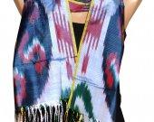 Uzbek handmade pure silk ikat shohi shawl scarf for your wardrobe A11349