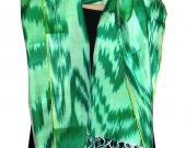 Uzbek handmade pure silk ikat shohi shawl scarf for your wardrobe A11325