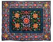 """Fine uzbek silk embroidery """"fishpond"""" suzani A10437"""