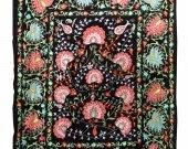 Silk uzbek embroidery bukhara suzani large palmettos boho style bedspread A8730