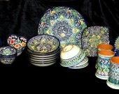 Uzbek handmade hand painted pottery set rishtan glazed ceramic 29 pieces A9212