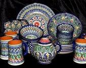 Uzbek handmade hand painted pottery set rishtan glazed ceramic 29 pieces A9205