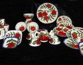 Uzbek handmade hand painted pottery set rishtan glazed ceramic 31 pieces M401