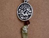 Virgo Pendant and Green Quartz Crystal Necklace
