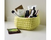 crocheted square basket lemon