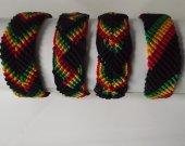 Set of Four Rasta Friendship Bracelets. Four Styles. 0.75 inches wide.