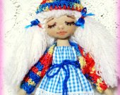 Cotton doll Shelf decor Cloth doll Puppet Gift for her Original gift Gift for girl Baby doll Handmade doll Textile doll