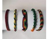 Set of Five Rasta Friendship Bracelets. Five Different Styles. Handmade in Peru.