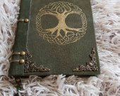 Suede journal Yggdrasil handmade