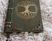 Suede journal Yggdrasil handmade