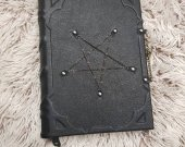 leather grimoire balck handmade pentagram
