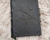 leather grimoire balck handmade pentagram