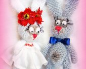 Funny bunnies Unique gift Handmade toy For women Stuffed animal Baby Kids Shelf decor Soft sculpture Crochet Nursery Ideas Room decor For sitter
