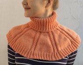 Knitted neck warmer peach color, warm collar, winter accessory