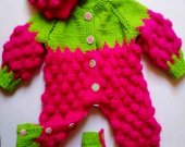 Knitted jumpsuit, cap and booties for newborns-raspberry