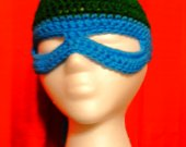 Blue Masked Crocheted Beanie