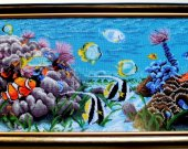 "Hand embroidery "" Aquarium"". Pattern seed beads on canvas. Size 96 cm*42 cm"