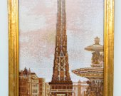 "Hand embroidery ""Eiffel Tower"". Pattern Seed beads on canvas. Size 66cm*33cm"