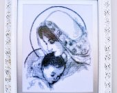 "Hand embroidery ""Mary and Jesus"". Pattern Seed beads on canvas. Size 44 cm*52,5 cm"