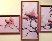 "Hand embroidery  ""Magnolia"". Pattern Seed beads on canvas. 3 in1"