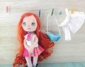 The authors doll made of fabric. Red-haired girl a great gift