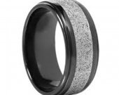 COI Black Tungsten Carbide Ring With Meteorite - TG4562