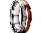 COI Tungsten Carbide Wood Meteorite Wedding Band Ring-TG4739
