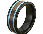 COI Tungsten Carbide Turquoise & Wood Ring - TG1823AA
