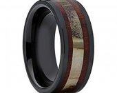 COI Black Tungsten Carbide Deer Antler Wedding Band Ring-TG2034
