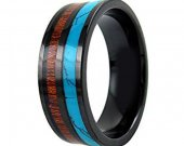 COI Black Tungsten Carbide Ring With Wood & Turquoise-TG2156