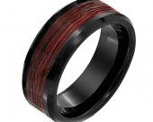 COI Black Tungsten Carbide Wedding Band Ring With Wood-TG2291