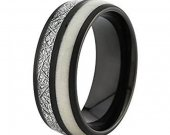 COI Black Tungsten Carbide Antler Meteorite Ring - TG2397A